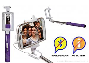 Selfie Stick Monopod with Wired Aux Cable Connectivity Compatible For Sony Xperia E3 Dual Sim -Purple