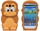 Minidandan Brown Cute 3d Monkey Gorilla Silicone Soft Case Cover Skin for Samsung Galaxy S3 I9300