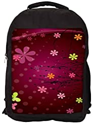 Snoogg Cute Flower Graphic Backpack Rucksack School Travel Unisex Casual Canvas Bag Bookbag Satchel