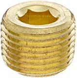 """Anderson Metals 56115 Brass Pipe Fitting, Hex Drive Countersunk Plug, 1/8"""" NPT Male Pipe"""