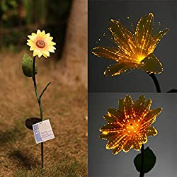 LussoLiv Garden Solar Power Flower White LED Light Outdoor Landscape Decorations Lamp