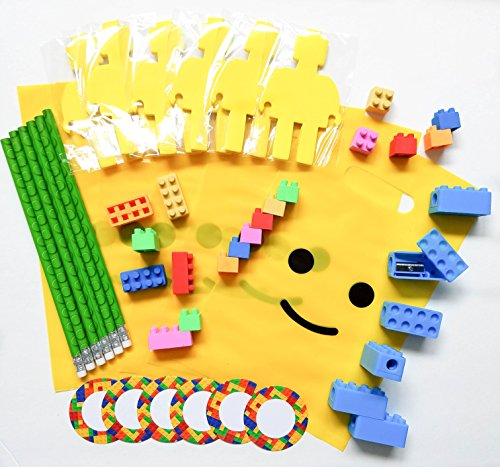 Pre-Assembled-54-Piece-Building-Blocks-Bricks-Theme-Favors-with-Mini-Figure-Cutout-Sticky-Notepad-Pencil-Erasers-Sharpener-Sticker-and-Bag-6-Pack