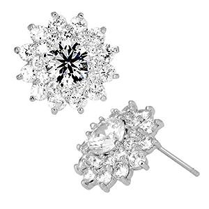 Pugster Apr Birthstone Clear White Crystal Flower Floral Stud Earrings