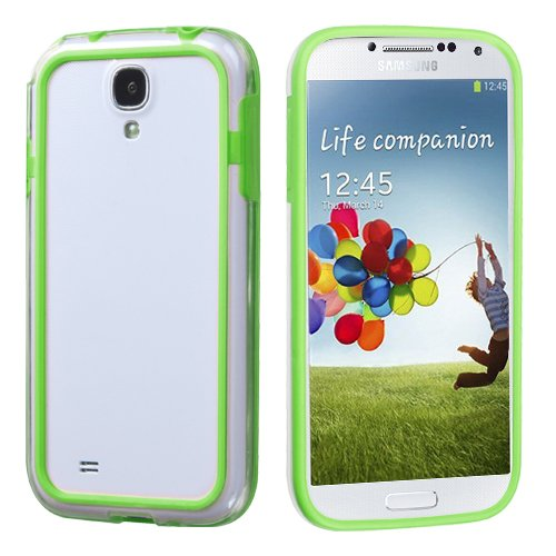 Phonetatoos For Galaxy S 4 (I337/L720/M919/I545/R970/I9505/I9500) Apple Green/Transparent Clear Mybumper Phone Protector Cover front-636377