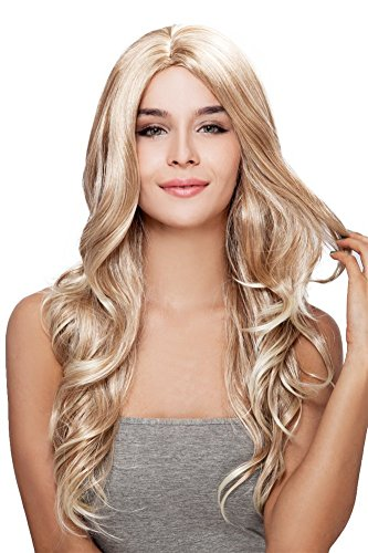 Kalyss Women's wig Long Curly Weave Blonde Heat Resistant Synthetic Hair wig