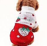 Onuneed(オンユニード) 冬 ベット用品 犬の服 秋冬服 6サイズ選択可能 ハート、イチゴ、可愛いクラシックラペル (6, 苺_赤) Onuneed