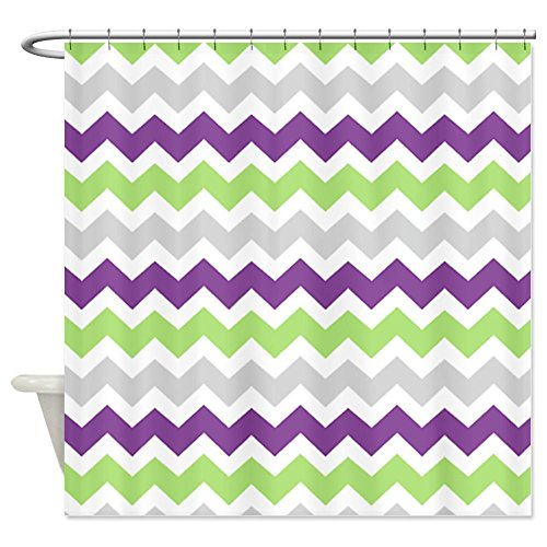 Lime Purple Grey Chevron Stripes Shower Curtain