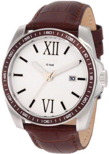 Esprit  Meridian Brown - Reloj de cuarzo para hombre, con correa de cuero, color marrón