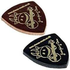1 x 'Jumping Cow' Leather Plectrum/Pick for Ukulele/Banjo/Bass/Guitar/Acoustic