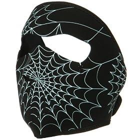 ZANheadgear Neoprene Glow in the Spiderweb Face Mask
