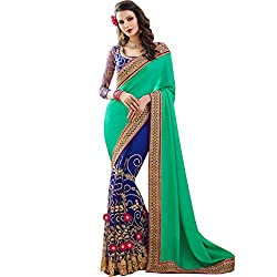 Vasu Saree For Women Green Blue Shaded Party Wear Embroidered Saree With Designer Zari Floral Lace Work On Border