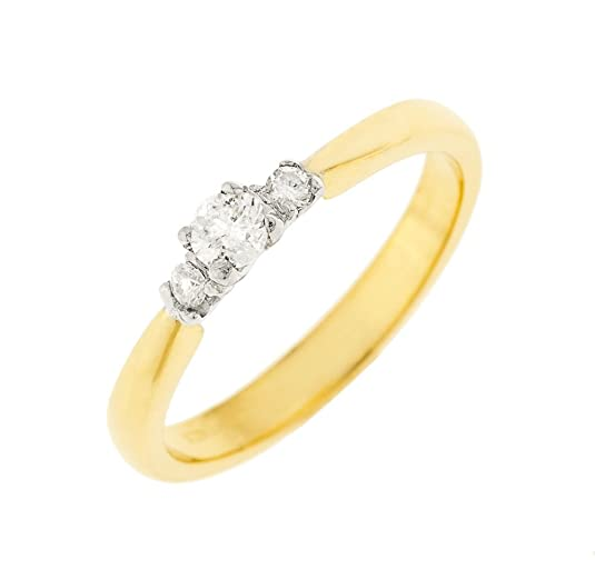 Kareco 9ct Yellow Gold Ladies 3 Stone 1/4 Carat Diamond Ring
