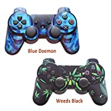 2pcs Sony PS3 Leather Texture Controller Skin- Custom Playstation 3 Remote Vinyl Sticker - Play Station 3 Joystick Decal - Weeds Black&Blue Daemon by GameXcel ® [ Controller Not Included ]