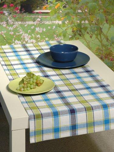 Hochwertig aus reiner Baumwolle - Tischläufer / Läufer kariert grün blau weiss - Größe 40 x 100 - 100 % Baumwolle , auch Tischdecke , Platzset , Backhandschuh , Brotkorb und andere Artikeln im gleichem Design erhältlich - Küche und alle Wohnräume