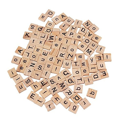 Funnytoday365 100 Wooden Alphabet Scrabble Tiles Black Letters & Numbers For Crafts Wood Is6