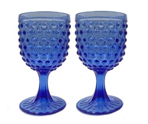 KCHAIN 2PCS Colours Embossed Dots Glass Goblet 10oz (Deep Blue) (Margarita Goblet Glass compare prices)