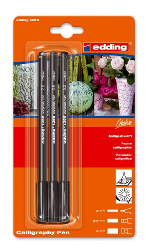 edding 1255 Calligraphy Pen Pack of 3 - Black
