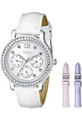 GUESS Women's U0309L1 Crystal-Accented Watch with Three Interchangeable Straps