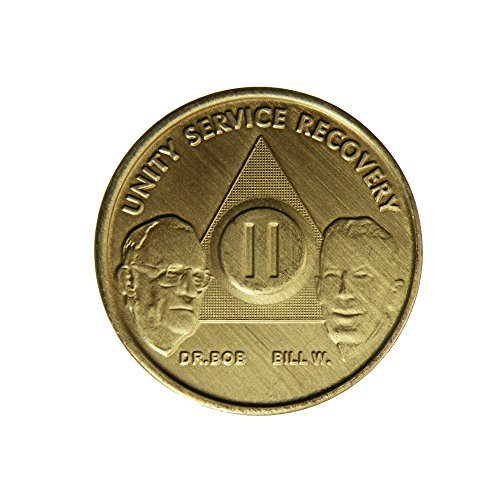 2 Year Bill & Bob Founders Edition Bronze AA (Alcoholics Anonymous) Birthday - Sober / Sobriety / Anniversary / Recovery / Medallion / Coin / Chip by Generic