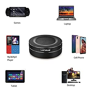 LENRUE Bluetooth Speakers, Portable Wireless Mini Speaker with Handsfree Call, Built-in-Mic and TF Card for iPhone, iPod, iPad, Phones, Tablet, Echo dot, Good Gift (Grey)