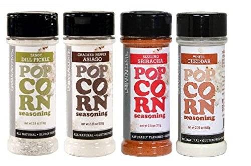 Urban Accents All Natural Gluten Free Premium Popcorn Seasoning 4 Flavor Variety Bundle: (1) Tangy Dill Pickle, (1) Cracked Pepper Asiago, (1) White Cheddar, and (1) Sizzling Sriracha, 2.25-2.6 Oz. Ea (Popcorn Seasonings Dill compare prices)