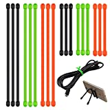 Lizber Rubber Twist Ties, Reusable Gear Ties 18 PCS Diameter 5mm (3 Inch, 6 Inch) Green, Orange, Black for Cords Managing, Travel Organizing, Plant Supporting
