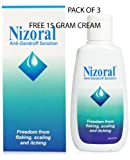 Nizoral 1% Anti Dandruff Shampoo Solution (PACK OF 3) 1.7 oz EACH (5.1 oz TOTAL)FREE CREAM 15 GM