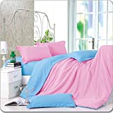 Dexim Exclusive Solid Poly Satin 4 Piece Bedding Set With Reversible Duvet Cover (Pink/Sky)