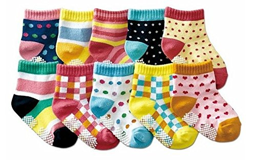 B&S FEEL Baby's 10-pair Printing Quarter Socks Set (anti-slip 1-3 years old)
