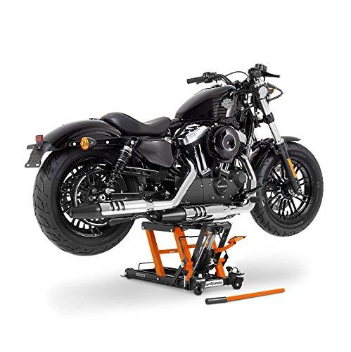 Ponte Sollevatore Moto per Harley Davidson Sportster 883 (XL 883) Cric Idraulico ConStands Mid-Lift L nero-arancione