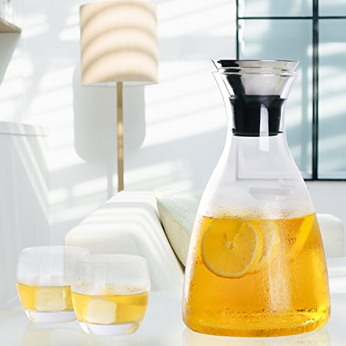 Hiware-50-Oz-Glass-Drip-free-Carafe-with-Stainless-Steel-Silicone-Flip-top-Lid-Hot-and-Cold-Water-Pitcher-TeaCoffee-Maker-Cafe-Iced-Tea-Beverage-Pitcher-As-Well-As-for-Decanting-and-Serving-Wine