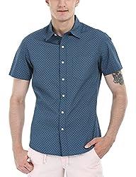 Zobello Men's Holiday Print Miami Shirt(11085B_Deep Teal Floral Print_X-Large)