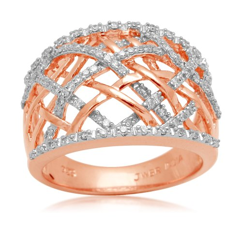 18k Rose Gold Plated Sterling Silver Diamond Ring (1/3 cttw, I-J Color, I3 Clarity), Size 6