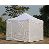 Abccanopy 10-feet By 10-feet Festival Steel Instant Canopy, Commercial Level, with Wheeled Storage Bag, 6 Removable Zipper End Walls , Bonus 4x Weight Bag (white)