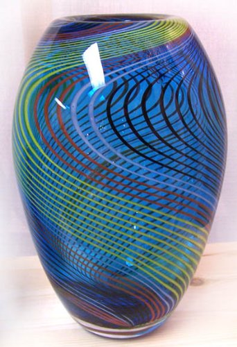 1 Murano Art Glass Vase Blue With Stripes And Lines A57 With