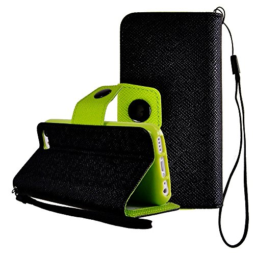 Mylife (Tm) Clouded Jet Black And Green {Classic Design} Faux Leather (Card, Cash And Id Holder + Magnetic Closing + Hand Strap) Slim Wallet For The Iphone 5C Smartphone By Apple (External Textured Synthetic Leather With Magnetic Clip + Internal Secure Sn