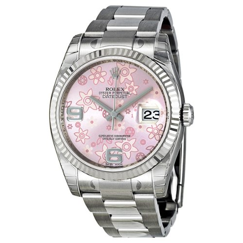 Rolex Datejust Automatic Pink Floral 18 kt White Gold Ladies Watch 116234PAFO