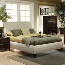 Hot Sale Queen Size Platform Bed in Beige Fabric