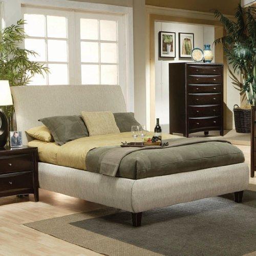 Queen Size Platform Bed in Beige Fabric