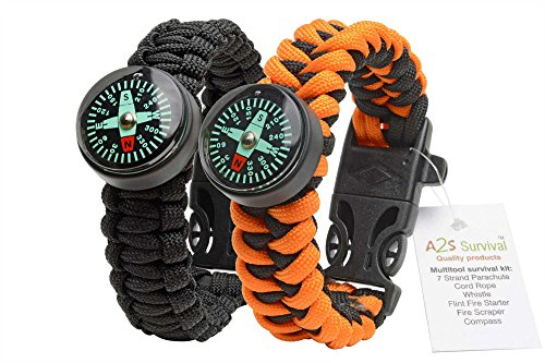 A2S-Paracord-Bracelet-Survival-Gear-Kit-Colorful-Everest-Series-with-built-in-New-Type-Compass-Fire-Starter-Emergency-Knife-Whistle-Pack-of-2-Quick-Release-Buckles-Lightweight-Durable