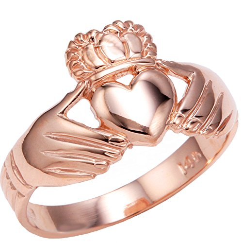 High Polish 10k Rose Gold Claddagh Ring (Size 6) (Gold Claddagh Rings For Women compare prices)