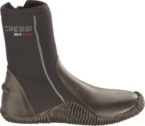 Cressi Isla Boots with 5mm Premium Neoprene and Anti Slip Rubber Soles, Black, Size 5