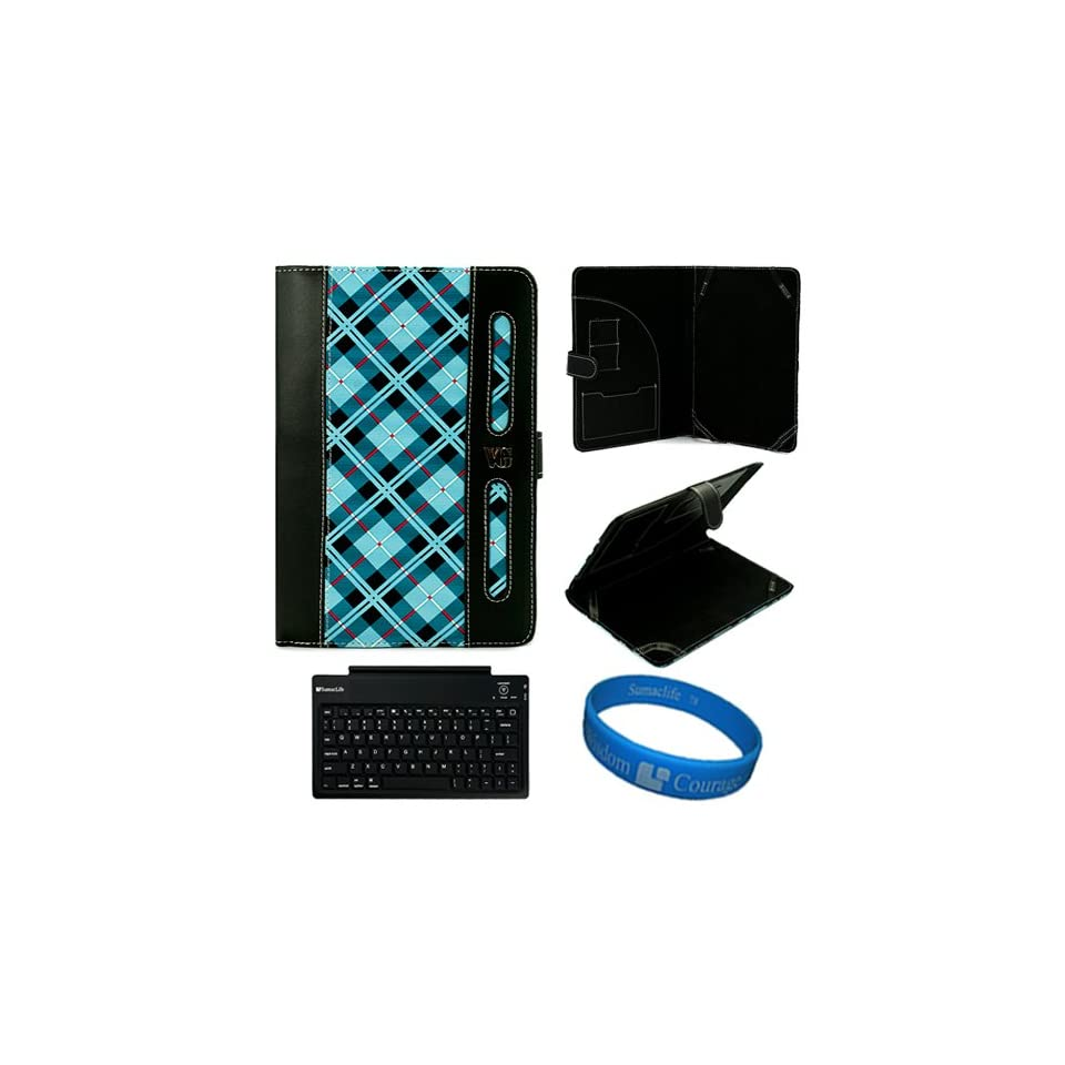 Blue Plaid Checkered Design SumacLife Dauphine Edition Executive Leather Portfolio Protective Carrying Case Cover for Sprint ZTE Optik 7 inch Touch Screen Android Tablet (Wifi, 3G, 4G) + SumacLife Wireless Bluetooth Keyboard with Micro USB Charge Data Cabl