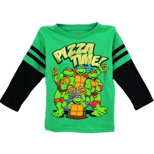 Nickelodeon Little Boys' Ninja Turtles 1 Piece Pizza Time Pullover, Green, 2T