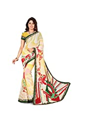 Anusha Multi Color Georgette Self Printed With Attached Border Saree