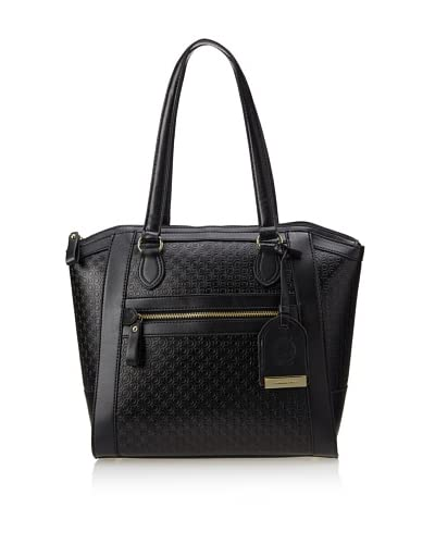 London Fog Women's Women's Fielding Tote Bag, Black Embossed As You See