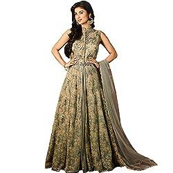 Vasu Saree Flawless Grey and Beige Designer Floor Touch Anarkali Suit
