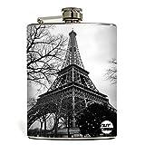 Designer Hip Flask 9 Oz - Nutcase - Free Funnel Along - Eiffel Tower Black & White