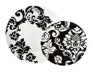 Damask 16-pc. Dinnerware Set - Black/ White