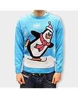 Christmas Jumper Novelty Retro - Skating Penguin Baby Blue - Unisex Ladies & Men - XXS to XXL